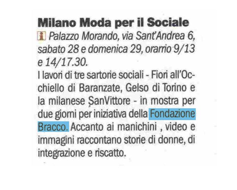 Milano Moda per il Sociale – la Repubblica TuttoMilano